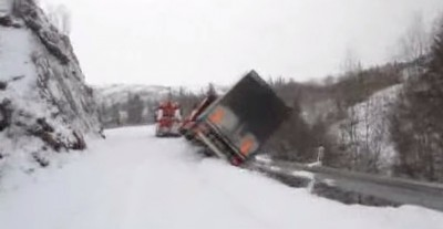 Truck tumbles 200 feet due to Bad tires